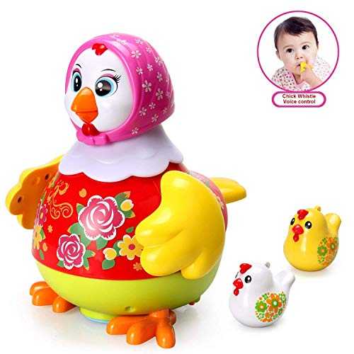 ACTRINIC Baby Spielzeug Eine Tanzende Henne und Zwei Whistle Hähnchen Babys mit Multifunktions,Beleuchtung,Musik,Universal Rad,Sprachsteuerung,Baby-Musik-Spielzeug für 1 2 3 4 5-jährige