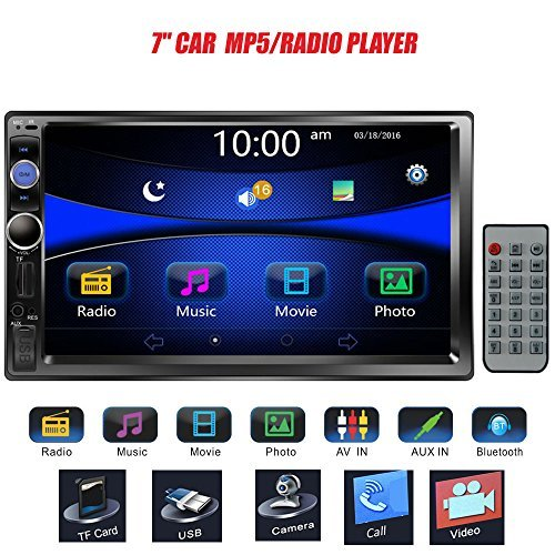 """Regetek 7"""" Double DIN Touchscreen In Dash Bluetooth Car Stereo Mp3 Audio 1080P Video Player FM Radio/TF/USB/AUX-in/Rear View Camera + Remote Control"""