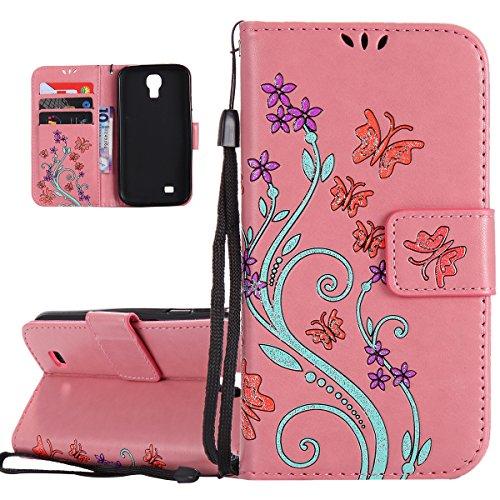 Hülle für Samsung Galaxy S4, Tasche für Samsung Galaxy S4, Case Cover für Samsung Galaxy S4, ISAKEN Blume Schmetterling Muster Folio PU Leder Flip Cover Brieftasche Geldbörse Wallet Case Ledertasche H Schmetterlinge Bunt Pink