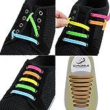 SCHNÜRRLIE Elastische Silikon Schnürsenkel - Der perfekte Schnürbänder Ersatz für Sneaker Turnschuhe Sportschuh (16 Stück Gold)