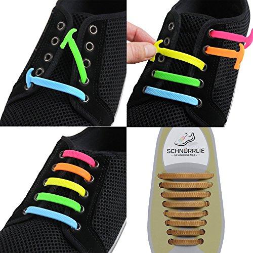 SCHNÜRRLIE Elastische Silikon Schnürsenkel - Der perfekte Schnürbänder Ersatz für Sneaker Turnschuhe Sportschuh (16 Stück ()