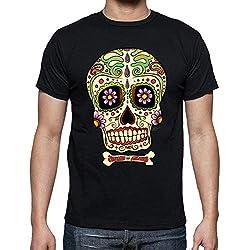 Camiseta calavera mexicana - Clásica, en negro