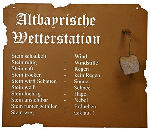 Metallmichl Edelrost Altbayerische Wetterstation aus Edelrost zum Hängen, 80 x 70 cm inkl. Stein, Wanddekoration aus rost Metall für innen und außen
