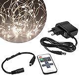 kwmobile LED Draht Lichterkette 20m - Warmweiße Beleuchtung mit Netzteil und Fernbedienung - LED Lichtband Kupferdraht Drahtlichterkette in Silber