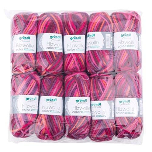 Gründl 2614/30 Pelote de Laine à feutrer Color, Avantage Pack : 10 à 50 g Orange/Fuchsia/Violet, 31 x 32 x 6 cm