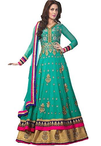 Special Mega Sale Festival Offer C&H Green Georgette Designer Semi-Stitched Anarkali Suits