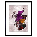 Wee Blue Coo Painting Map Outline Scotland Tartan Inset Regions Framed Wall Art Print