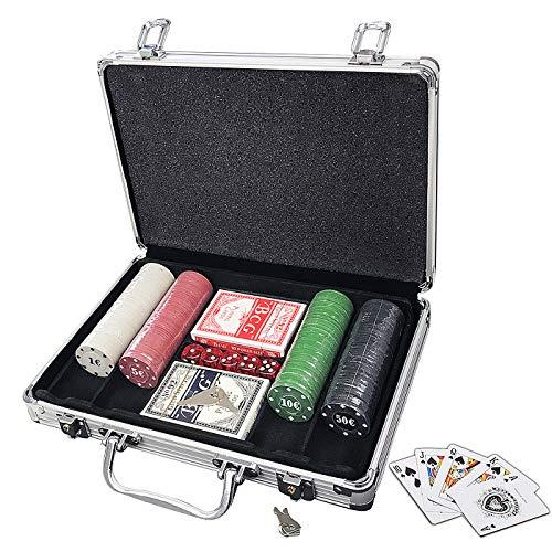 Juego de Chips de Poker, Resistente, 0.41 oz, Juego de fichas de póquer con Funda de Aluminio para Blackjack Gambling,Poker de Casino 200 Fichas