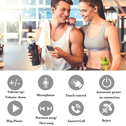 Wslhcsure Bluetooth Kopfhörer Kabellos V5.0 Touch Bluetooth Headset Sport Ohrhörer Wireless In Ear Kopfhörer 3000mAh Kontinuierliche Fahrt für 90h Unterstützung der Siri IPX7 Wasserdicht Mikrofon - 5