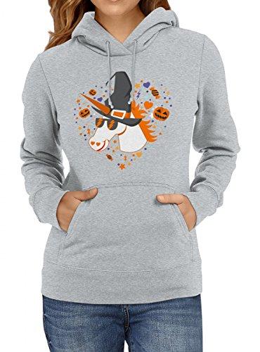 Shirt Happenz Halloween Premium Hoodie | Halloween-Einhorn | Halloween-Kürbis | Kostüm | Frauen | Kapuzenpullover, (Damen Kostüm Druide)