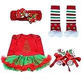 iEFiEL 4tlg Baby Kleidung Set Mädchen Bekleidungsset Kleid Tütü Bodys Strampler Stirnband Beinwärmer Schuhe Weihnachtsbaum 3-6 Monate