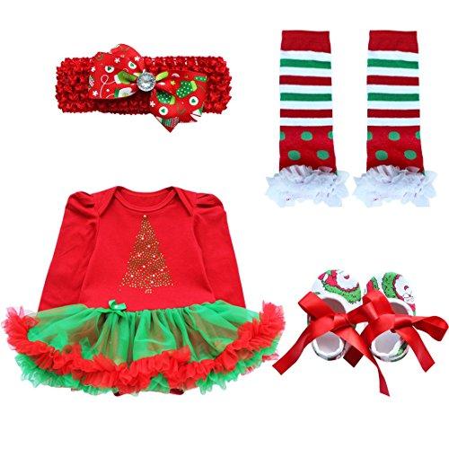 idung Set Mädchen Bekleidungsset Kleid Tütü Bodys Strampler Stirnband Beinwärmer Schuhe Weihnachtsbaum 3-6 Monate ()