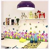 GOUZI Flores de bricolaje butterfly tulip bordeando alambrada arte carteles de pared pared removible adhesivo adhesivo para la pared de fondo Dormitorio Salón baño Estudio Barber shop