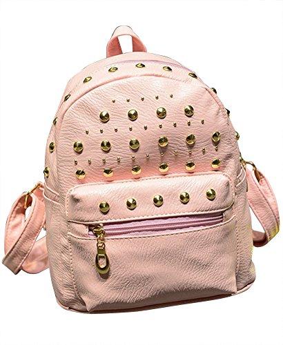 Molly Donne Annata Solido Colori Ribattino Decorato Dello Zaino Borsa Pink
