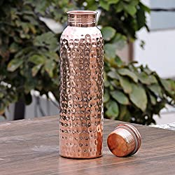Hammered Copper Water Bottle, 1litre -Handmade,Joint Free & Leak Proof for Ayurvedic Health Benefits