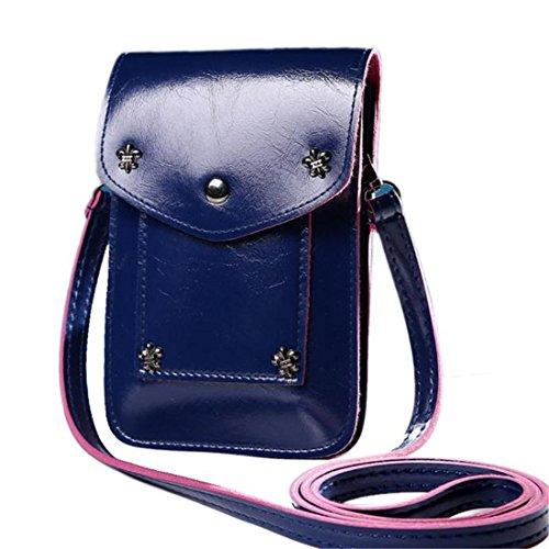 Frauen Mini Schulter Messenger Bag Handtasche Einheitsgröße beige dunkelblau