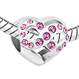 LovelyJewellery New Heart Infinity Love Charms Pink Birthstone Sale Cheap Charm Beads Fit Pandora Charms Bracelets