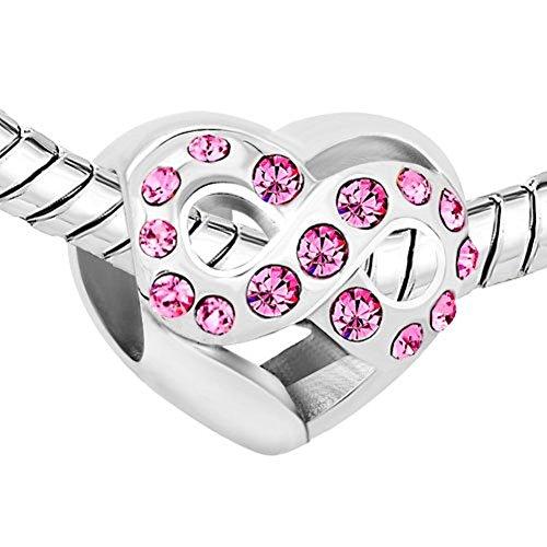 Charm infinity a forma di cuore, in cristallo, colore: rosa, per gioielli pandora, perline/charm per bracciale