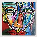 """HIMAmonkey 100% Tableau Peinture Huile sur Toile Moderne Art Decoration Mural Peinture Tableau Acrylique Peint à la Main avec Cadre Bois,32""""*32""""(80 * 80cm)..."""