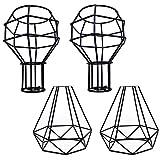 4 Pack/Set Modern Industrielle Vintage Käfig Draht Lampenschirm - MOTENT Retro Metall DIY Stehlampe Pendelleuchte Halter Zubehör für Küchen Loft Flur Schlafzimmer Bar Café Laden Salon Restaurant