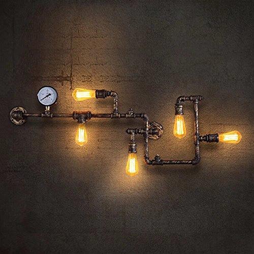 Lingkai Lampada da parete di tubo dell'acqua del metallo dell'annata industriale retro con cinque fonti di illuminazione di Edison Lampada di parete di Steampunk della parete della parete con la finitura di rame