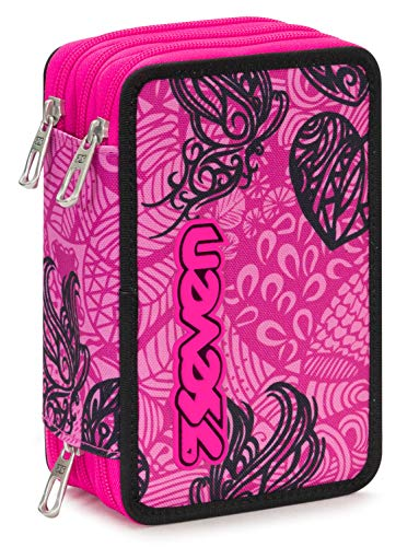 Astuccio 3 Zip Seven Colorflower, Rosa, Con materiale scolastico: 18 pennarelli Giotto Turbo Color, 18 matite Giotto Laccato...
