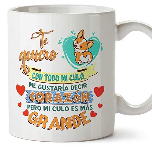 MUGFFINS Taza Graciosa Te Quiero con Todo mi Culo - Regalos Divertidos con Frases para Desayuno