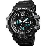 KAUO Digitale Sportuhr für Herren, Militär, Wasserdichte Armbanduhr, Dual-Time-Armee, elektronische Armbanduhr mit leuchtendem Kalender, Stoppuhr, Alarm, LED-Display