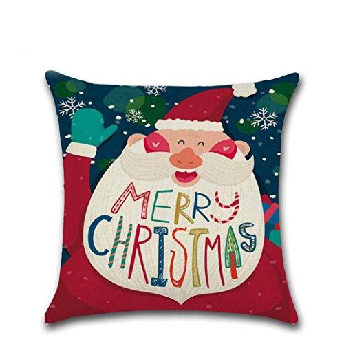JANLY Joyeux Noël taies d'oreiller housse de coussin canapé linge de maison Decor (Multicolore F)
