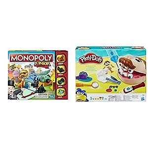 Monopoly Junior, versión Española (Hasbro A6984546) + Play-Doh PDH Core Dentista Bromista, Multicolor, 1 (Hasbro B5520EU4)