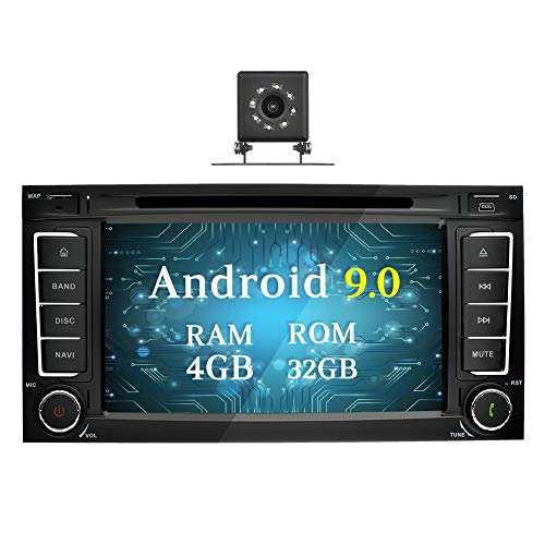 Ohok 7 Zoll Bildschirm 2 Din Autoradio Android 9.0 Pie Octa Core Radio mit Navi DVD GPS Navigation Unterstützt Bluetooth DAB+ für VW Touareg/Transporter/T5 Multivan mit Klein-Rückfahrkamera