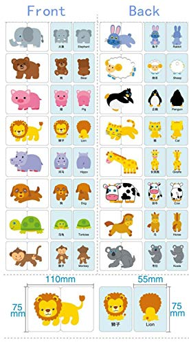 TOSSPER Baby-Kind-Kind-Cognitive-Flash-Karten Puzzle kognitives Lernen Early Education-Karte Lernspielzeug Vehicl/Obst/Tier/Life Set Paar Puzzles Baby-Geschenk