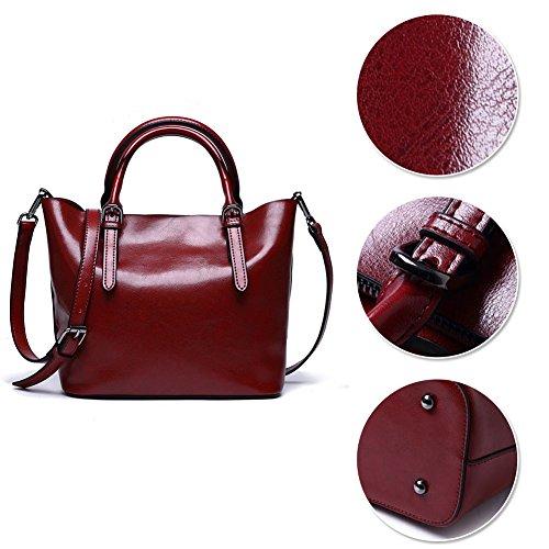 Yoome Designer Borsa a tracolla in vera pelle Borsa a mano in vacchetta Borsa a tracolla valigetta - Marrone Rosso