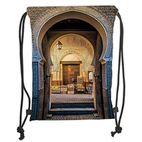Big Blue Arch (LULUZXOA Gym Bag Printed Drawstring Sack Backpacks Bags,Moroccan,Typical Moroccan Door to Old Medina Mediterranean Historical Arch Entrance Photo,Blue Beige Soft Satin)