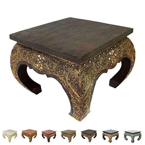 Asiatische Wohnzimmer Beistelltisch (Opiumtisch Beistelltisch Couchtisch 50 x 50cm Thailand Tisch Holz Dunkel Antik)
