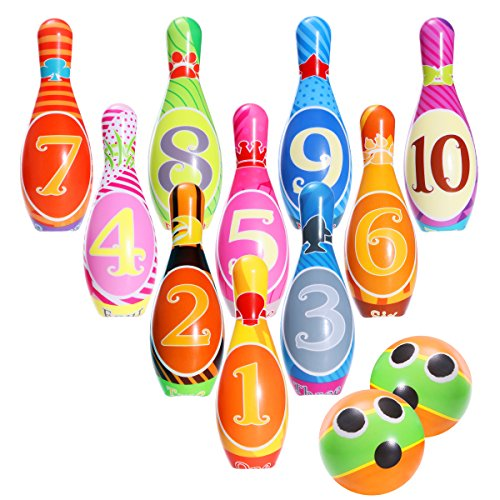 iBaseToy Kinder Bowling Set Kegelspiel Spiele Boule-Spiele Bowlingkugel Kegel für draußen Spielzeug Kinder ab 3 4 5 Jahren(2 Bälle und 10 Kegel)
