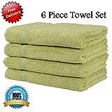 AK Textiles Handtuch aus 100% ägyptischer Baumwolle, hochwertig, 550 g/m², Energieklasse A+++, olivgrün, 6 Hand Towels