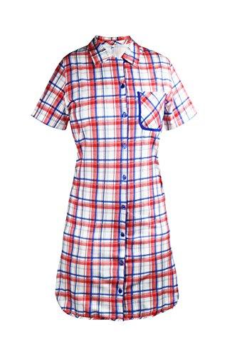 Cybele Damen Nachthemd kariert Kurzarm L 90 cm Größe 48 Sleepshirt Nachtwäsche (Gewand Blau Kariertes)