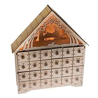 Clever Creations – Calendario de Adviento – Cuenta atrás de 24 días hasta Navidad – Madera – Escena del Nacimiento iluminada – 29,9 cm