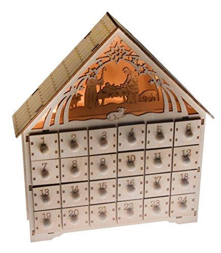 Clever Creations - Adventskalender mit Krippenmotiv - aus Holz - 24-Tage-Countdown bis Weihnachten - Hochwertige Weihnachtsdeko - Beleuchtet - 29,8 cm