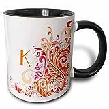 3dRose Buchstaben K-N Pretty Pink Orange Swirls-Two Ton, schwarz-weiß-Becher aus Keramik, Mehrfarbig, 10.16cm x 7,62x-Uhr