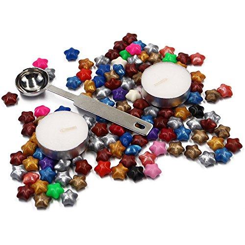Lenhart 120PCS Star Form Siegelwachs Perlen, mit 1Stück Wachs Schmelzlöffel und 2Stück Wachs, zufällige Farben