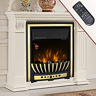 Lincsfire Wickenby 2KW Time/Temperature Display Remote Control Inset Modern Electric Fireplace Stove