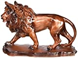 Collectible Prowling Faux Wood Lion Model Figure Figurine Statue