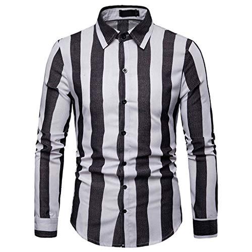 TAMALLU Herren Hemden Mode Beiläufig Streifen Männer T-Shirt Langarm Tee Kleid Bluse Tops(Schwarz,XL) -
