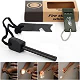 AGM® Magnesium Fire Starter Flint Striker + Ruler + Whistle Survival Tool Kit for Outdoor Camping Living Survival