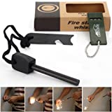 AGM® Magnesium Fire Starter Flint Striker + Ruler + Whistle Survival Tool Kit for Outdoor Camping Living Survival