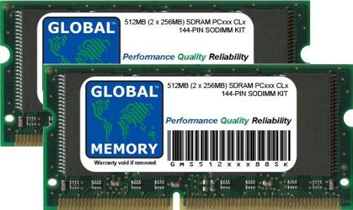GLOBAL MEMORY 512MB (2 x 256MB) PC100/133 144-PIN SDRAM SODIMM ARBEITSSPEICHER RAM KIT FÜR NOTEBOOKS -