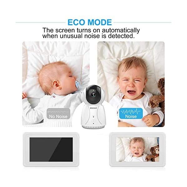 """BIGASUO Wireless Baby Monitor 7"""" HD LCD Digital Screen with Camera Night Vision & Two-Way Talk, Night Vision, Sound & Movement Alarm, 5 Baby Lullabies BIGASUO 👶【TWO-WAY TALKING & SUFFICIENT TRANSMISSION RANGE】 In a wide-open area,the monitor covers a transmission range of up to 1000 ft if connect its own wifi while 500 ft if connect the environment wifi. A highly sensitive built-in microphone and speakers on the camera detect the baby's voice,the parent's voice can comfort the baby. 👶【7'' LARGE COLOR LCD DISPLAY & AUTO NIGHT VISION】 BIGASUO baby vedio monitor offer you the clearest visual experience with the 7'' high-quality LCD HD screen.Clearly infrared night vision can view your baby and the room in low light even dark surroundings. 👶【AUTO MUTE & MULTI-TRANSMITTER CAPABILITY】 When the sound of the camera in the room is less than 52db for more than 8 seconds, the speaker of the display will be turned off, and a monitor will be activated when the noise is made. It can be paired with four cameras, and parents can select the cameras they want to monitor or scan the cameras one by one. 6"""