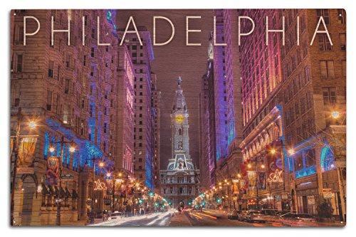 Philadelphia, Pennsylvania-City Hall, holz, mehrfarbig, 10 x 15 Wood Sign - Philadelphia Laterne